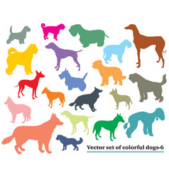 set of colorful dogs silhouettes-6 vector image vector image