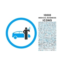 Smoking Taxi Driver Rounded Icon with 1000 Bonus vector image vector image