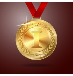 Golden first place medal with red ribbon vector image