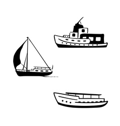 ocean transport set yacht motor boats vector image vector image