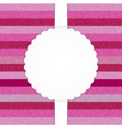 Pink horizontal stripped jeans card vector image vector image