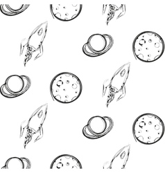 Planet and rocket ink imitation seamless pattern vector image