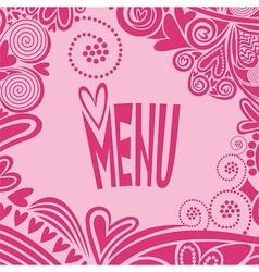 Romantic valentines day menu vector image vector image