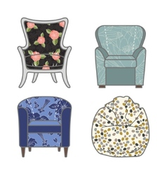 Set of colorfull and patterned armchairs vector image vector image