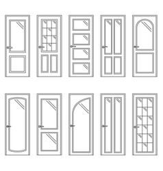 set of contours of doors vector image vector image
