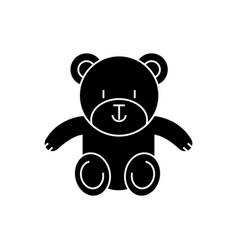 teddy bear cute icon black vector image