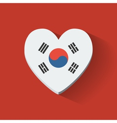 Heart-shaped icon with flag of South Korea vector image vector image