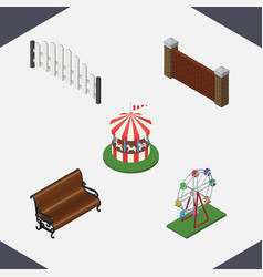Isometric street set of sitting carousel vector