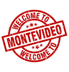 Welcome to montevideo red stamp vector