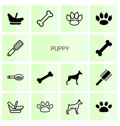 14 puppy icons vector image