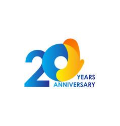 20 years anniversary celebration blue yellow vector