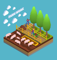 Agricultural isometric composition vector