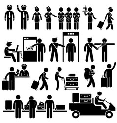 Airport workers and security pictograms a set vector