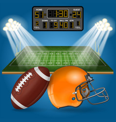 american football field with scoreboard vector image