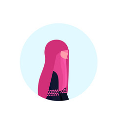 Arab woman paranja profile isolated avatar icon vector