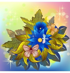 Autumn flower bunch with butterflies and dragonfly vector