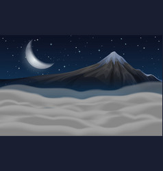 Beautiful moutain scene at night vector