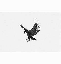 black silhouette wild eagle soaring in sky vector image