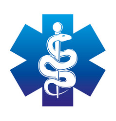 Blue medical cross and snake vector