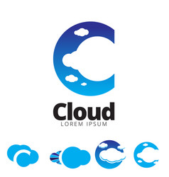C letter based cloud symbol vector