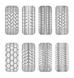 car dotted tire tracks vector image
