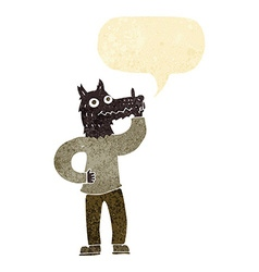 Cartoon werewolf with idea with speech bubble vector