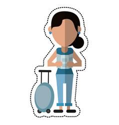 cartoon woman looking map baggage travel vector image