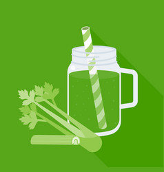 Celery juice in mason jar with celery vector