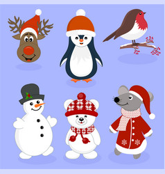 Christmas new year characters icons vector