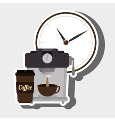 coffee and watch isolated icon design vector image
