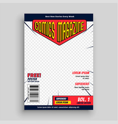 Comic magazine book front page template design vector