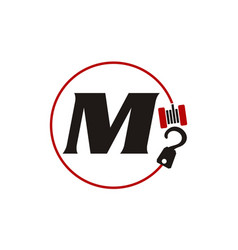 crane hook towing letter m vector image
