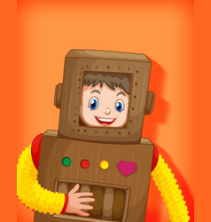 cute boy wearing robot costume isolated vector image