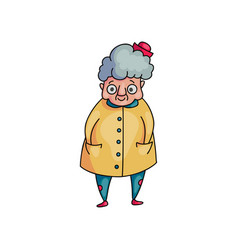 cute funny grandmother with grey hair and yellow vector image