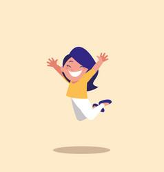 Cute little girl jumping avatar character vector