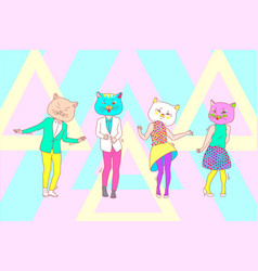 Dance party cat mask team concept vector