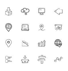 doodle logistics icons set vector image