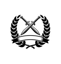 emblem template with crossed swords design vector image