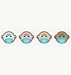 face mask icon in cartoon style with different vector image