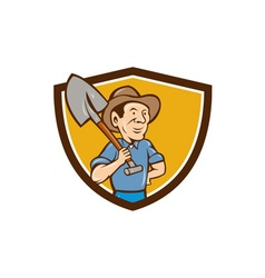 Farmer Shovel Shoulder Crest Cartoon vector image