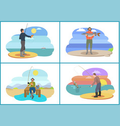 Fishing set active people vector