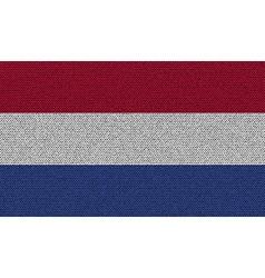 Flags Netherlands on denim texture vector image