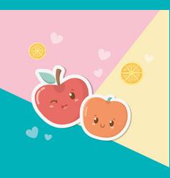 fresh apple and cherry fruits kawaii characters vector image