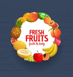 Fresh farm fruits and berries frame garden food vector