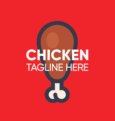 fried chicken leg logo for fast food cafe vector image