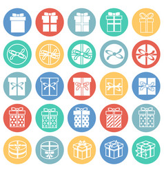 gift icons set on color circles background for vector image