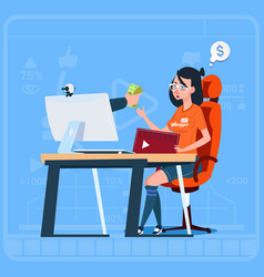 girl blogger sit at computer streaming video blogs vector image