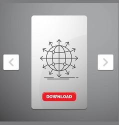 Globe network arrow news worldwide line icon in vector