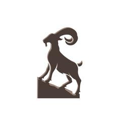 Goat mountain stand on rocks for logo design vector