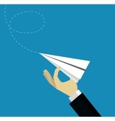 Hand launching paper plane vector